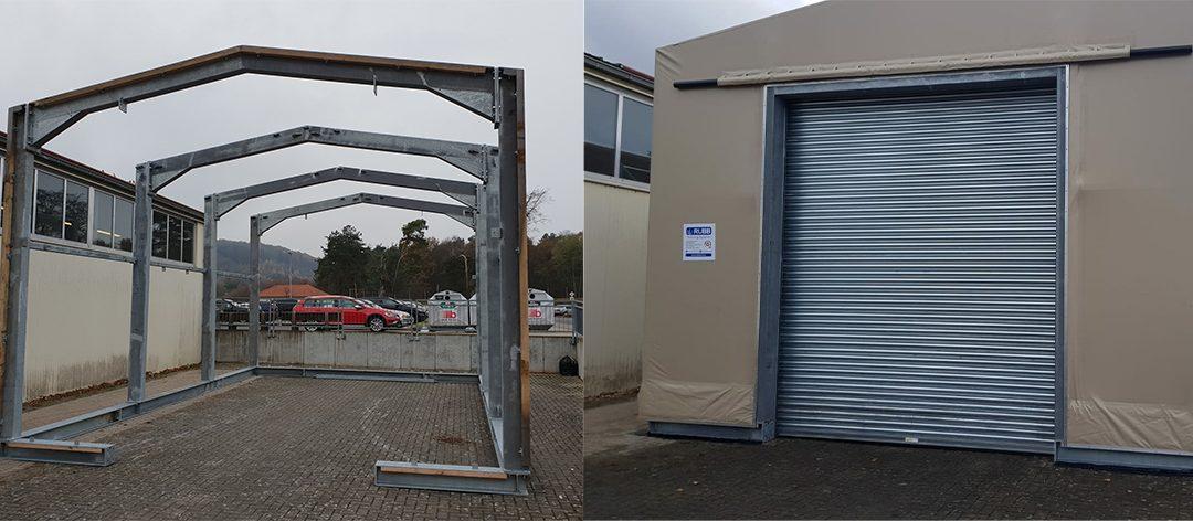 Structure érigée par Rubb Buildings Ltd sur une base de l'armée américaine en Allemagne à l'aide d'ancrages Platipus