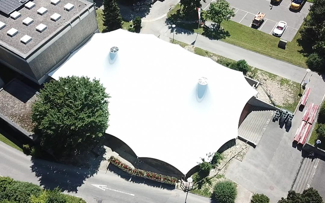 Structure d'ombrage en toile, Crissier, Suisse